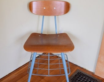 "School Chair Adult Sized American Made Wood, Metal, 18"" Size,"