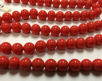 50 Vintage Japanese 1950's Cherry Brand Glass Coral 8mm. Smooth Round Beads 4584