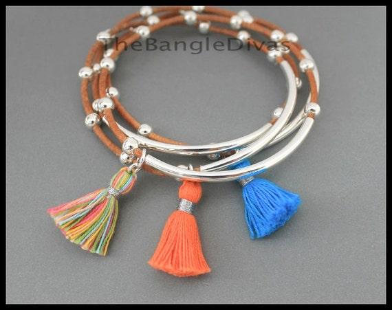 Boho Leather TASSEL Bangle - Double n Single Tubes Genuine Leather Cord - Cotton Tassel Charm Bangle Stackable Bracelet - USA