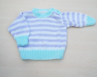 Hand knitted baby lilac and white sparkly striped jumper 3 - 6 months - knitted baby clothes