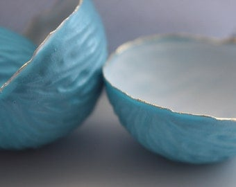 Big walnut shells from stoneware fine bone china with blue exterior and real gold, - ring dish - ring holder
