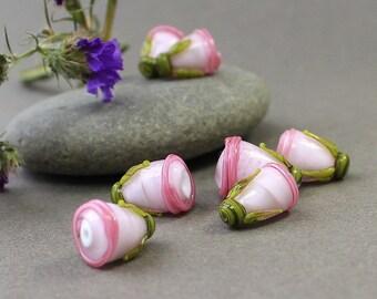 Glass Lampwork Beads, Set of 3 Pink Flower Buds, Glass Beads, Lampwork Flower Beads, Glass Beads, Floral Lampwork, Lampwork Flower Beads