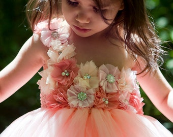Coral Tutu Dress.. Coral Flower girl ...Birthday Tutu Dress.. Flower girl dress...Peach and Coral