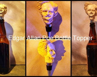 Edgar Allan Poe Wine Stopper, bottle topper, sculpture,  home and living, kitchen and dining, Drink & Barware, accessories
