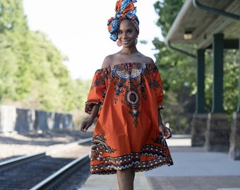 African Clothing for Women: N Y O T A African  Print Dress ONLY in Orange