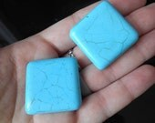 Square Turqoise Stone Large Chunky Beads (2 pieces)
