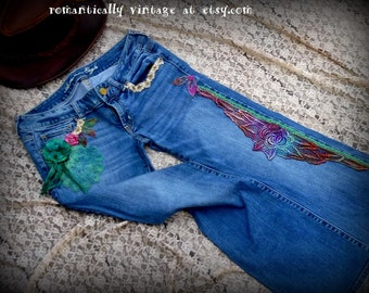 Blue, Jeans, Upcycled, American Eagle, Lace, Clothes, Art to Wear, Romantic, Accessories, Shabby Chic