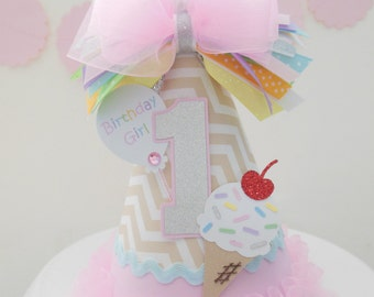 Pastel Ice Cream Birthday Party Hat - Tan and White Chevron, Pastel Pink, Lavender, Yellow, Blue, Green, Silver - Personalized