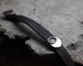 Nubuck leather bracelet with silver charm, Mixed metal charm bracelet, Women boho leather bracelet