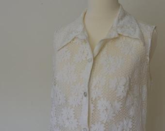 70s lace full lenght sleeveless gilet / duster coat