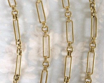 Vintage Corey Chain, Heavy Brass Chain, Large Fancy Chain, Station Chain, 22mm, 2 FT