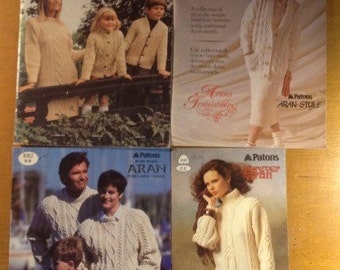 Classic Aran Style Knitting Pattern Books - lot of four