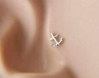 Tragus earrings, Anchor tragus earring, tragus 16G, tragus BioFlex, tragus piercing, labret piercing,tragus earring flat back,