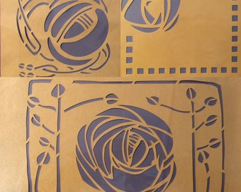 Trio of Glasgow Style Stencils (Rose & Squares, Special and House for an Art Lover)