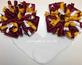 Korker Bow Socks, Maroon Yellow Gold White Cury Ribbon Bows, Childrens Accessories, MSU FSU Cheerleader Cheer Football School Spirit Uniform