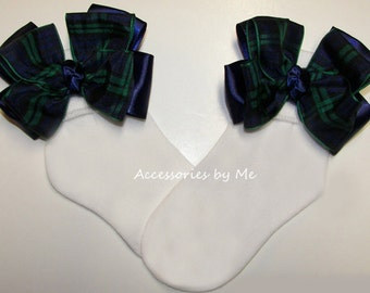 Plaid Bow Socks, Modern Clan Socks, Blue Green Blackwatch Socks, Scottish Tartan Ribbon Socks, Baby Plaid Socks Flower Girls Blackwatch Sock