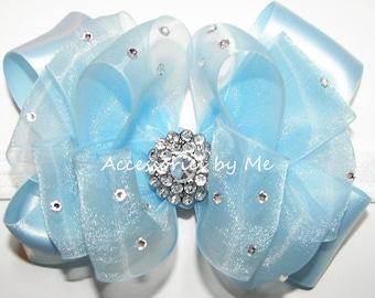 Glitzy Light Blue Bow, Baby Bow Headband, Light Blue Organza Satin Ribbon Bow, Blue Flower Girl Bow, Glitz Pageant Light Blue Bow Hair Band