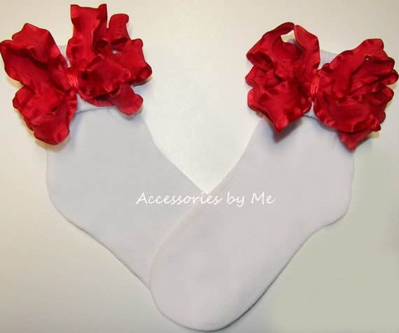 Frilly Red Ruffle Bow Socks Girls Baby Infant Newborn Childrens Accessories Christmas School Recital Dance Birthday Pageant Wedding Party