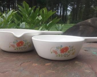 Set of Two Vintage Corning Ware P89 Sauce Pans in Wildflower Pattern Orange Poppy