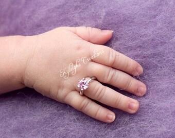 Newborn PINK diamond ring, newborn keepsake, newborn ring, baby ring
