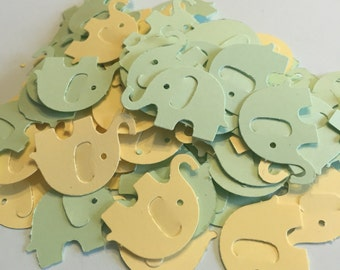 100 green and yellow elephant confetti