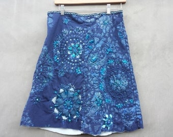 Ice Blue Skirt With French Lace Stencil