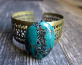 Turquoise Cuff,Raw Stone Bracelet,Turquoise Bracelet,Raw Stone Braclet,Turquoise Brass Bracelet,Bohemian Jewelry,Boho Cuff,Boho Bracelet