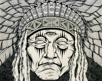 Native American Ancestral  Visions Wearing Headdress