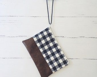 Plaid Clutch/Vegan Leather Wristlet/Fall Handbag/Bridesmaid Gifts/Makeup Bag/Gifts for Her