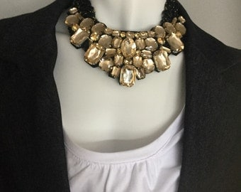 NEW PRICE- Big chunky black and gold bib necklace by ashley3535