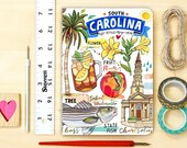 South Carolina notebook, blank journal, the Palmetto State, state symbols, illustration, personalized stationery, gift.