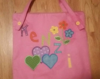 Small Personalized Kids Tote Bag, Zippered Tote Bag, Canvas Tote Bag, Lined Tote Bag,Tote Bag for Kids, Bookbag For Girl Flower Girl Present