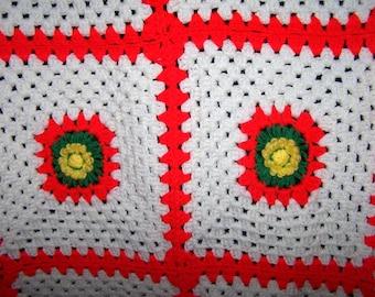 Vintage 70's Crocheted Granny Square Lap Blanket Throw Afghan Housewares Linens Lap Blanket, Neon Blanket, Floral Throw, Retro Blanket