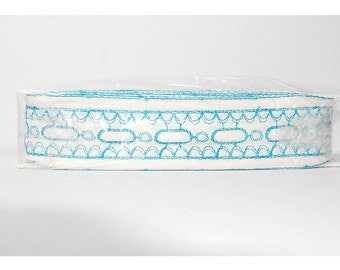 Vintage Lace Blue Trim White Trim Sewing Notions Embroidered Trim Sewing Supplies Craft Supplies, 27 Yards, Trim Yardage, Lace Yardage,