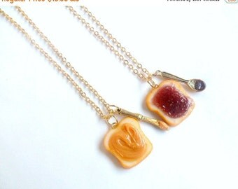 ON SALE Peanut Butter Jelly Necklace Set, Best Friend's BFF Necklace, Gold Plated, Cute :D