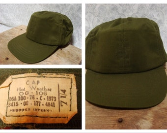 Vintage Retro USGI Military Hat Cap Green Olive Drab Hot Weather 70's Vietnam Era Made in USA 7 1/4