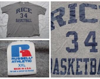 Vintage Retro Men's T-shirt Rice University Basketball Gray Black Russell Atheltics Team Tshirt Silk Screen Short Sleeve XXL Made in the USA