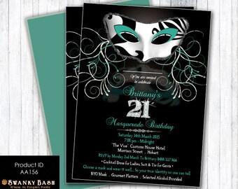 Masquerade Party Invitation - Masquerade or Mardi Gras Theme - Digital File or Printed Invitations - Product ID AA156 - Diamonds and Bling