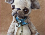 by Alla Bears original artist Vintage Puppy dog stuffed Antique hand made toy art doll designer gift pet baby blue pug home decor man cave