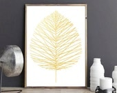 Gold Foil Leaf Print, Golden Art Print, Metallic Nature Artwork, Scandinavian Print, Geometric Print, Gold Leaf Print, Modern Minimalist Art