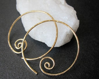 MEDIUM SWIRL HOOPS Hammered Interchangeable Earrings for charms Sterling Silver, Gold Filled, Rose Gold Free Drops