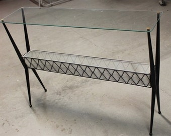 Vintage Mid Century Sofa Table with Glass Table Top 1950s
