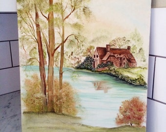 Vintage Landscape, Canvas Painting, Cottage Scene, Pastoral Landscape, Original Painting, Gallery Wall