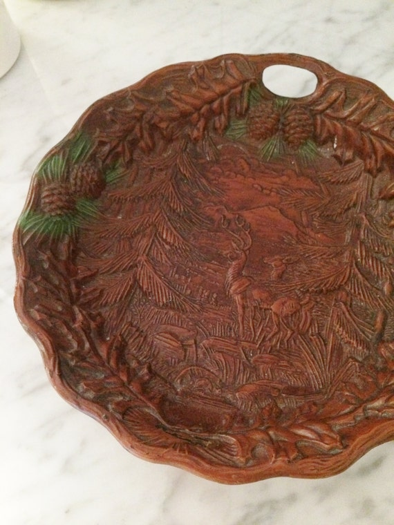 Rustic Bowl, Vintage Woodland Bowl, Faux Wood Bowl, Deer Decor, Pine Cones,