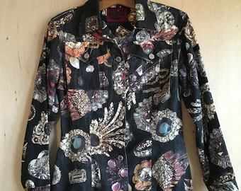 90's Mod Zart Baroque Denim Jacket S London