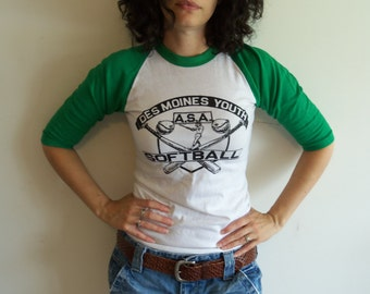 Vintage Distressed White and Green Des Moines Youth Softball Raglan Tee