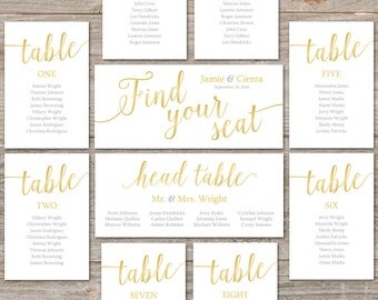 Gold Seating Chart Printable // Editable Seating Cards, Instant Download // Gold Wedding Decor, Seating Chart Cards Wedding