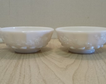 SALE Westmoreland Paneled Grape Milk Glass Candle Holders (pair) was 20