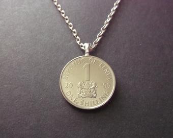 Kenya One Shilling Necklace -2009  Republic of Kenya Coin Pendant Coat of Arms