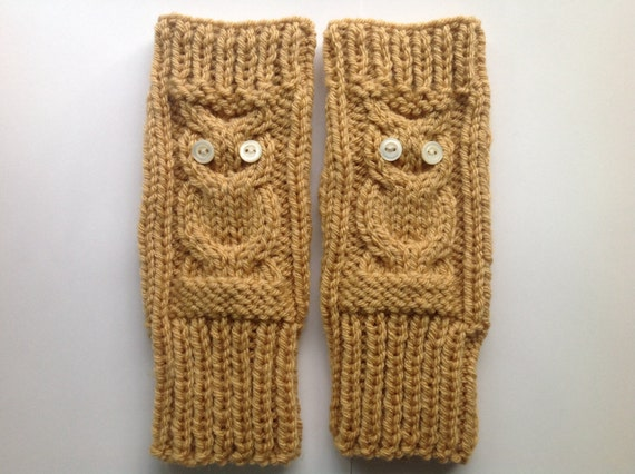 Owl Fingerless Gloves Knitting Pattern, Chunky Hand ...